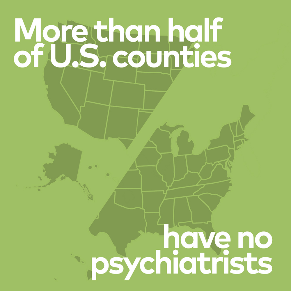 More than half of U.S. counties have no psychiatrists